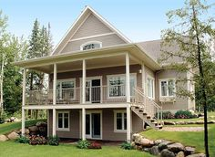 On a sloping lot plan 2105DR delivers covered outdoor spaces on two levels. Plan link: http://www.architecturaldesigns.com/cottage-house-plan-2105dr.asp