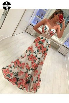 Fashion A Line Floral Spaghetti Strap Long Sleeveless Prom Dresses Sleeveless Prom Dress, Prom Dress A-Line, Prom Dress Prom Dresses 2020 A Line Prom Dresses, Homecoming Dresses, Cute Dresses, Strapless Dress Formal, Evening Dresses, Girls Dresses, Flower Girl Dresses, Dresses With Sleeves, Formal Dresses