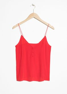36728b606134b1 Front image of Stories silk camisole top in red  silk-clothingfemininity  Red Tank Tops