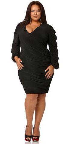"""Blanca"" Gathered Sleeve Faux Wrap Dress - Black - Monif C"
