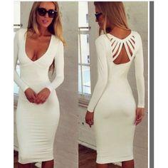 Sexy V Neck Long Sleeves White Polyester Sheath Knee Length Dress
