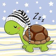 Buy Sleeping Turtle in a Hood by on GraphicRiver. Sleeping cute Turtle in a hood on a blue background Cute Turtle Drawings, Cute Turtle Cartoon, Easy Drawings, Animal Drawings, Cute Cartoon, Baby Animals, Cute Animals, Turtle Images, Turtle Love