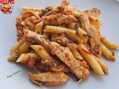 Πένες με φιλέτο κοτόπουλο4 Cookbook Recipes, Cooking Recipes, Chicken Wings, Pasta Salad, Meals, Ethnic Recipes, Food, Crab Pasta Salad, Meal