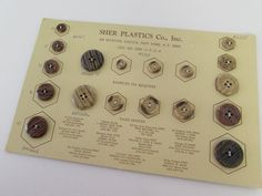 Vintage Buttons Salesman Sample Card to Frame Sewing Room Decor Collectible 6367 by SweetLibertyStudio on Etsy