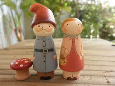 PEG DOLLS Wooden Toy-Shelf Sitter Set Hand Painted Gnome Couple No. 1 and Mini Fly Agaric Mushroom via Etsy
