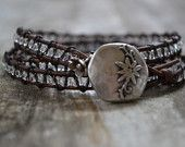 Clear beaded, distressed brown leather triple wrap bracelet, Thai hill tribe flower charm, Rustic Country-Boho chic