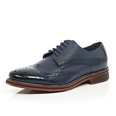 Navy blue pebbled leather brogues - brogues - shoes / boots - men