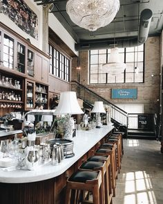 """unlapinfatigue: """" one year ago yesterday I went to this beautiful place for the first time…needless to say it has been a healthy relationship since (at The Allis at Soho House Chicago) """" Restaurant Concept, Cafe Restaurant, Restaurant Interior Design, Cafe Interior, French Bistro Kitchen, French Coffee Shop, Pub Design, Soho House, Dark Interiors"""