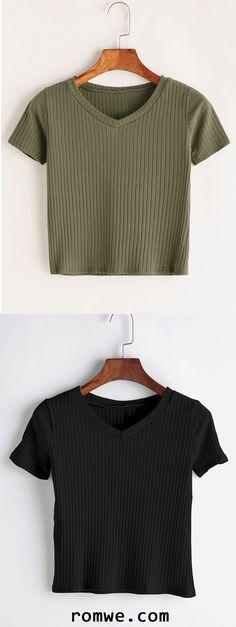 V Neck Ribbed Knitted T-shirt