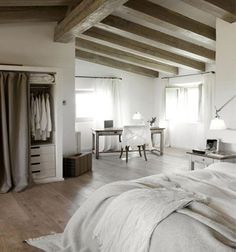 Trendy home decored living room neutral bedrooms Ideas Pretty Bedroom, White Bedroom, Dream Bedroom, Peaceful Bedroom, Large Bedroom, Dream Rooms, White Wood Floors, Wood Beams, Neutral Bedrooms