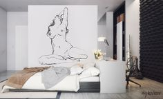 A minimalist female nude placed on a bedroom wall will give your interior a fascinating, sensual character. Woman Bedroom, Bedroom Art, Aluminum Foil Art, Creative Wall Painting, Abstract Face Art, Exotic Art, Sexy Drawings, Alien Art, Anatomy Art