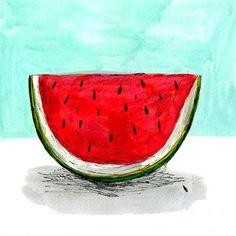Image of Watermelon slice artwork Watermelon Images, Watermelon Cartoon, Watermelon Art, Watermelon Carving, Food Illustrations, Illustration Art, Tumblr Tattoo, Watermelon Illustration, Dibujos Tumblr A Color