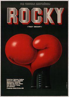 Polish poster for John G. Alvidsen's, Sylvester Stallone starring film, Rocky. Polish Movie Posters, Polish Films, Eyes Wide Shut, Rocky Balboa, Rocky Poster, Rocky 1976, Stallone Rocky, Boxing Posters, Movie Pic