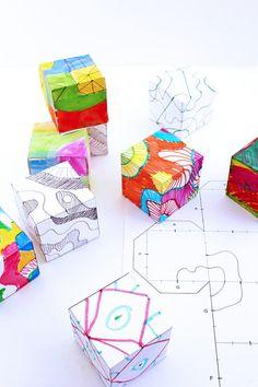 Doodle cubes art activity for kids art classroom, activities for teens, summer art activities Art Therapy Activities, Art Activities For Kids, Art For Kids, Drawing Activities, Classroom Activities, Classe D'art, Math Art, Art Graphique, Art Classroom