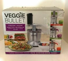 Veggie Bullet 3 Function Shred Slice & Spiralize Machine 12 piece set #VeggieBullet