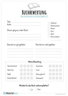 Buchbewertung - Brit Kla - This Kindergarten Classroom, School Classroom, Kindergarten Portfolio, Study Apps, Writing A Book Review, Classroom Language, Book Journal, Classroom Management, Special Education