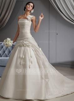 Wedding Dresses - $232.49 - Ball-Gown One-Shoulder Cathedral Train Organza Wedding Dress With Ruffle Flower(s) (002022678) http://jjshouse.com/Ball-Gown-One-Shoulder-Cathedral-Train-Organza-Wedding-Dress-With-Ruffle-Flower-S-002022678-g22678