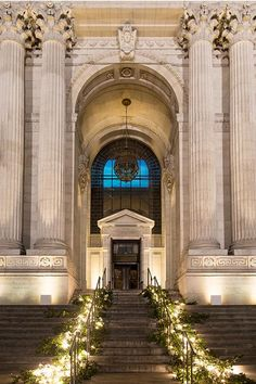 Candle-lined stairs at The New York Public Library   @picturebunny   Brides.com