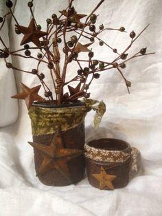 Set of 2 grungy mason jars, decorative jars, jelly jars, primitive jars, mason jar, rustic... $13.50
