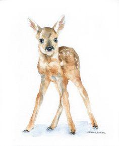 Deer Fawn Watercolor Painting Giclee Print 8x10 Nursery Art. $16.00, via Etsy.