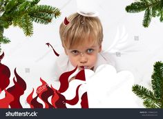 Naughty or good child for Christmas card? PF or letter to Santa-Claus for Christmas. Little child boy appearing as an adorable angelic devil Kids Christmas, Christmas Cards, Santa Letter, Kids Boys, Devil, Dinosaur Stuffed Animal, Lettering, Children, Animals