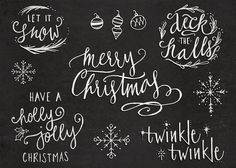 Hand-Lettered Christmas Overlays with Bonus Hand Drawn Illustrations - Transparent Photoshop and PNG Files All Things Christmas, Christmas Holidays, Christmas Crafts, Christmas Phrases, Chalk Lettering, Brush Lettering, Xmas Cards, Holiday Cards, Scrabble Kunst