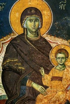 Panagia (fresco) - c. Religious Images, Religious Icons, Religious Art, Religion Catolica, Russian Icons, Byzantine Art, Greek Art, Orthodox Icons, Sacred Art