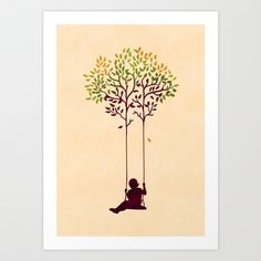 surreal illustration, surreal art, silhouette, kid on swing, The tree from your childhood Art Print by Budi Satria Kwan - $19.97
