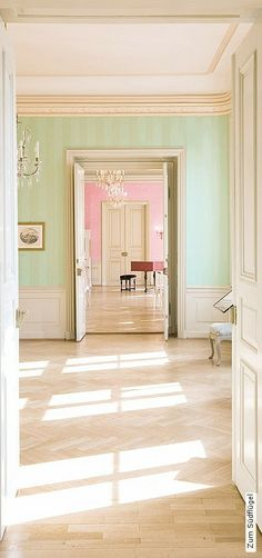 Wallpapers to the south wing Zauberfee Design Pastel Interior, Interior Design Inspiration, Bedroom Wall, Scale Models, Regency, Wall Design, Color Combinations, Pretty In Pink, Sweet Home