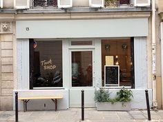 Tuck Shop // Paris, signage on shop window, window decals, branding, typography