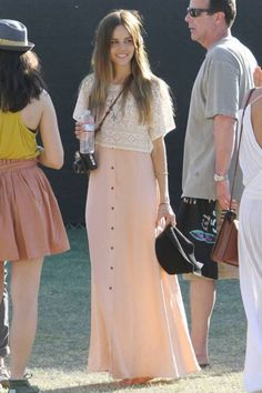pastel maxi and lace crop top