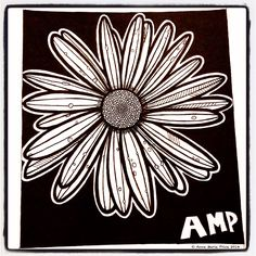 Daisy by Anne Marie Price www.ampriceart.com #flower #daisy #AMP #ampriceart #pen #drawing #ink Ink Pen Art, Daisy, Amp, Drawings, Flowers, Cards, Black, Black People, Margarita Flower