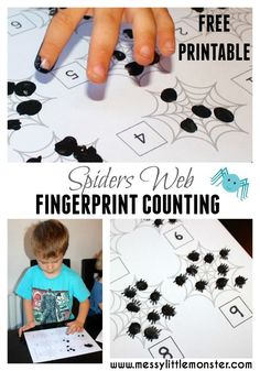 A simple fingerprint spiders web activity for toddlers, preschoolers and the early years. This spider learning activity is themed around the book 'The Very Busy Spider'. Great for a autumn or winter project. Eyfs Activities, Craft Activities For Kids, Preschool Activities, Spider Web Craft, Spider Crafts, Spider Webs, Halloween Math, Halloween Activities, Halloween Week