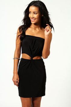 http://www.boohoo.com/evening-dresses/nancy-knot-detail-bandeau-dress/invt/azz53333  Perfect outfit for the pear shape figure   Accenurates your gorgeous waist and beautiful shoulder frame   Perfect for dressing up, and dressing down