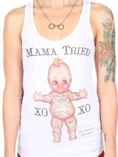 "Women's ""Mama Tried"" Racerback Tank by Black Market Art (White)"
