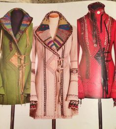 Konst på kläder Hippie Style, My Style, Boho Style, Old Sweater, Sweaters, Cool Coats, Make Do And Mend, Cool Jackets, Quilted Jacket