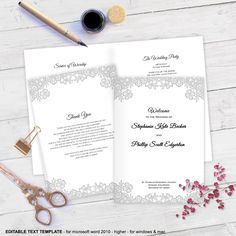by WeddingInvitationByC on Etsy Diy Wedding Programs, Printable Wedding Programs, Microsoft Word 2010, Program Template, Cover Template, Text Color, Templates, This Or That Questions, Party