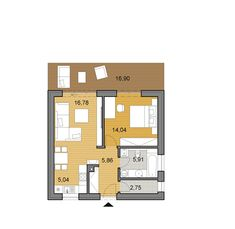 Small bungalow that is suitable as a weekend house or chalet. Its rectangular floor plan is not only practical but it is also suitable for narrow plots. Mini House Plans, Small House Floor Plans, Tiny Guest House, Tiny House, Site Plan Drawing, Small Bungalow, Apartment Floor Plans, Weekend House, Construction Cost