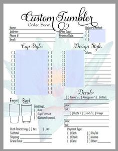 Cricut Projects Discover DIY Editable Custom Tumbler Order Form in PDF! Great for those Craft Shows! Diy Tumblers, Custom Tumblers, Glitter Tumblers, Acrylic Tumblers, Glitter Cups, Personalized Tumblers, Diy Love, Cricut Craft Room, Cricut Mat