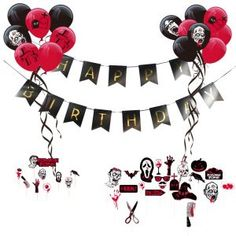 Zombie Party Theme Happy Birthday Decoration Kit Latex Balloons Scary Photo for sale online Zombie Decorations, Birthday Decorations At Home, Girls Party Decorations, Happy Birthday Banners, Paper Decorations, Birthday Party Themes, 30th Birthday, Halloween Party Supplies, Halloween Banner