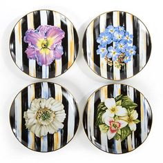 Collect all four of MacKenzie-Childs' Thistle & Bee Salad Plates. Table setting tip: layer these salad plates with your other dinnerware to add a fresh pop of unexpected pizzazz for your guests or family. Decoupage Plates, Painted Plates, Hand Painted Ceramics, Ceramic Plates, Plates On Wall, Decorative Plates, Pottery Painting, Ceramic Painting, Ceramic Art
