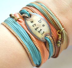Be still  Silk Wrap Bracelet Boho wrap Silk Ribbon by SailorStudio, $29.00