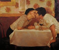 'Cafe Kisses' - Joseph Lorusso - Figurative Artist, oil paintings. Waterhouse