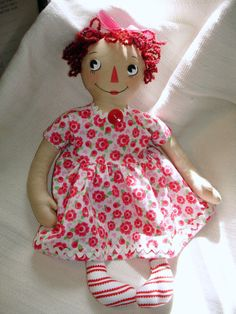 Raggedy Ann Doll in RosePrint Dress 16 Cloth by MyDisgustedCats, $36.00 roseprint dress, dress 16