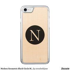 Modern Geometric Black Circle Monogram Carved iPhone 7 Case