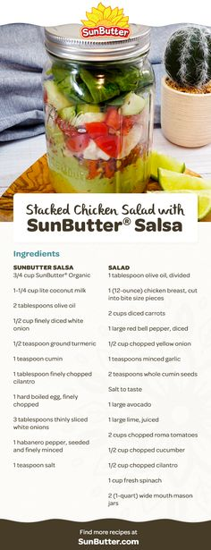 Try making this Stacked Chicken Salad with SunButter Salsa for a lunch, picnic, or meal on the go–with layers of flavor you can see! Small Food Processor, Food Processor Recipes, Whole30 Plan, Cooked Carrots, Chicken Salad, Lunch Recipes, Salsa, Picnic, Avocado