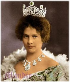 Princess Auguste of Bavaria (1875 – 1964) Hand colored photo.  Her necklace looks like aquamarines, but the stones in her tiara are green - emeralds?