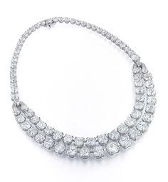 Breathtaking 119.03 carat Cushion Cut Diamond Necklace by Ronald Abram