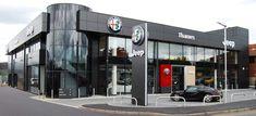 Slough Alfa Romeo and Jeep Modern Showroom Front Door Design, Shop Front Design, Workshop Design, Garage Workshop, Door Opener, Car Garage, Alfa Romeo, Showroom, Jeep