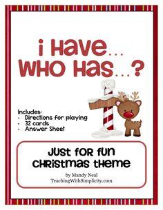 Classroom Freebies: I have... Who has... for Christmas